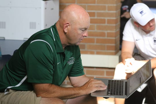 Drew Gibbs of Ramapo during the coaches conference on rules as players and coaches from over 100 northern New Jersey high school football teams that came to the Super Conference Media Day at Wayne Valley on August 15, 2019.