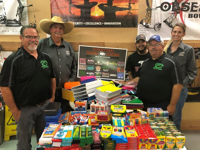 The Southwest Border Archers collected school supplies during a benefit archery event held Aug. 3. All supplies were donated to the Deming Public SchoolsTitle I and McKinney-Vento programs. Pictured from left are Rick Turner, Badger Evans, Jose Jara, James Swopeand Nicolette Klump. Not pictured are Chuck Turner and Chris Griffith.