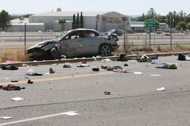New Mexico State Police investigate a rollover crash from Interstate 10 onto Sam Steel Way that killed one person and injured two others.