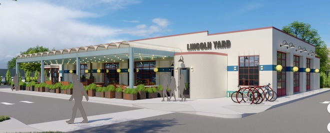A rendering of the proposed Lincoln Yard restaurant at a former bus yard in Birmingham.