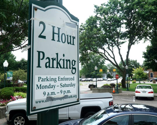 A parking sign near Plymouth's Penn Theater showing how long drivers can leave their cars for no charge.