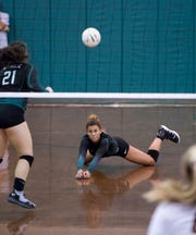 Amiah Butler (11) during the Niceville vs Pensacola Catholic match in the pre-season volleyball tournament at Catholic High School in Pensacola on Tuesday, August 13, 2019.
