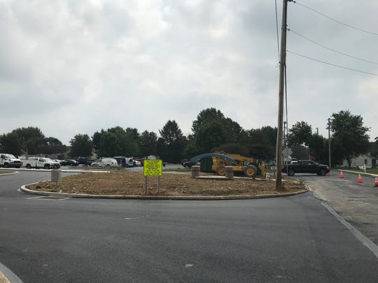 Construction in the parking lot at Union Canal Elementary School