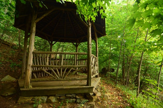 A gazebo is conveniently positioned along the trail to Sugarloaf Hill.