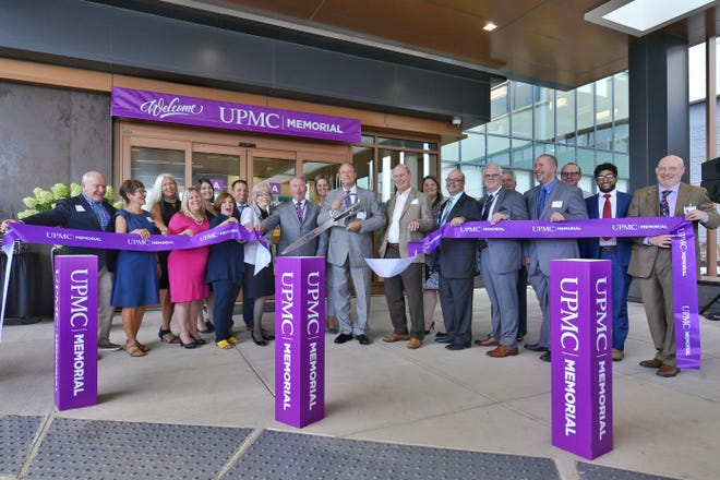 UPMC Pinnacle Memorial Hospital holds a ribbon cutting, Thursday, August 15, 2019. The hospital officially opens Sunday at 6a.m. when patients will be transfered from the Belmont Street hospital.  John A. Pavoncello photo