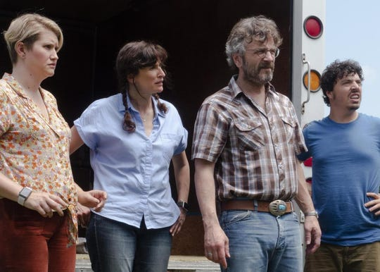 "Marc Maron, Michaela Watkins, Jillian Bell, and Jon Bass in ""Sword of Trust,"" playing at Small Star Art House."