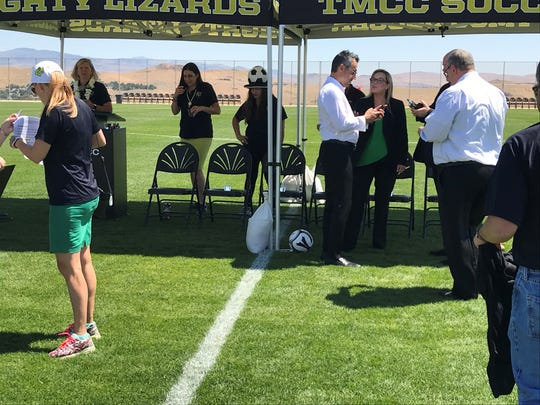 Reno mayor Hillary Schieve was on hand for the TMCC soccer media day on Thursday.