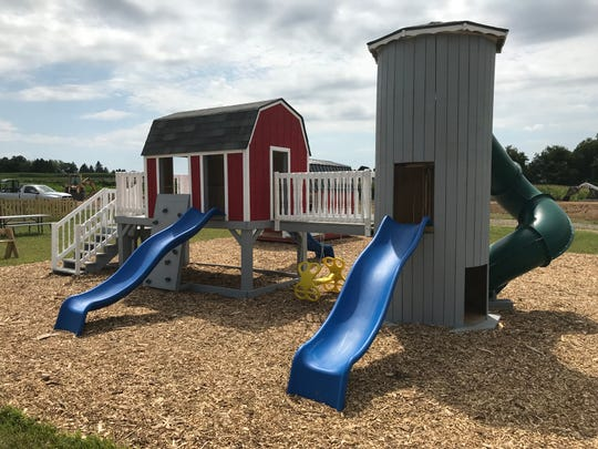 "Four farm-themed playground are featured in ""The Barnyard"" play area at Wickham Farms, 1315 Sweets Corners Road in Penfield."