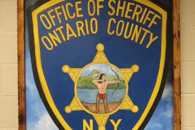 Painting of the Ontario County Sheriff's Office seal inside the county jail complex in Hopewell.