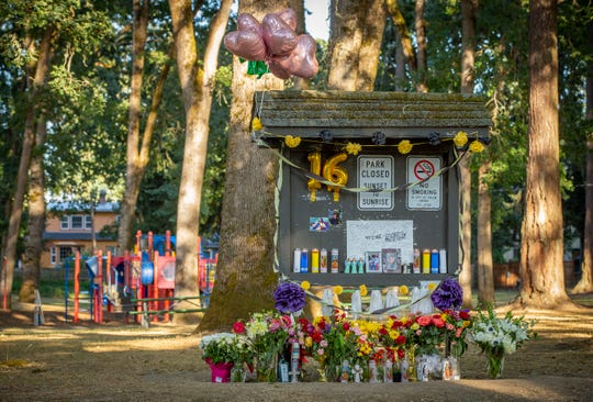 A large memorial is still present at Englewood Park, 1260 19th St. NE in Salem more than a week after Ishaq Saleem, 16, of Keizer was shot there during an incident on August 4. Salem was taken to the Hospital where he died. No arrests had been made and authorities are searching for the suspect involved.