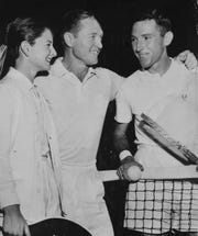 """Bernard """"Tut"""" Bartzen, far right, grew up in San Angelo and became a tennis legend. He became one of the top 10 players in the world and was a longtime coach at Texas Christian University. Bartzen passed away July 10, 2019 in Fort Worth at the age of 91. Also pictured are George Richey, Bartzen's coach, and his daughter, Nancy Richey."""