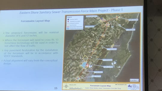 A map showing the location of a proposed sewer project on Virginia's Eastern Shore.