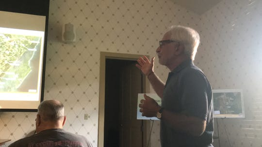 Ron Wolff, Accomack County Supervisor, asks a question during a public information meeting about a proposed regional sewer project on Wednesday, Aug. 14, 2019 in Onley, Virginia.