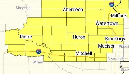 A severe thunderstorm watch is in effect for parts of central South Dakota on Thursday, Aug. 15, 2019.