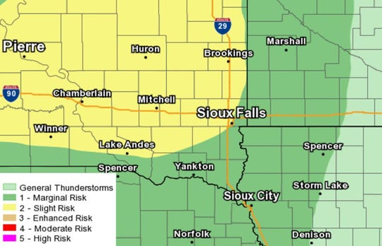 Sioux Falls is at a slight risk for severe weather on Thursday, Aug. 15, 2019.
