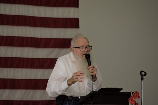 Bill McBrayer, who plans to propose new restrictions on concentrated agricultural feeding operations to the Hickory County Commission in the coming days, speaks at an event about the dangers of industrial farms Wednesday, Aug. 14, 2019.
