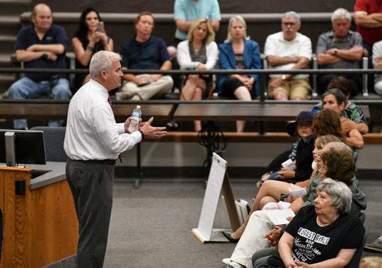 U.S. Rep Tom Emmer speaks during a town hall meeting Wednesday, Aug. 14, 2019, at St. Cloud City Hall.
