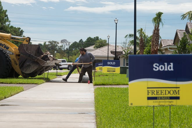 """Statewide Grading's Luis Trujillo, of Vero Beach, works at the Berry Grove development by Freedom Homes, a D.B. Horton company, on Wednesday, Aug. 14, 2019, in Palm City. Rafael Roca, division president, said, """"I don't believe the housing market has really slowed down — the pace has picked up, most recently, I think interest rates and housing supply has a lot to do with it."""""""