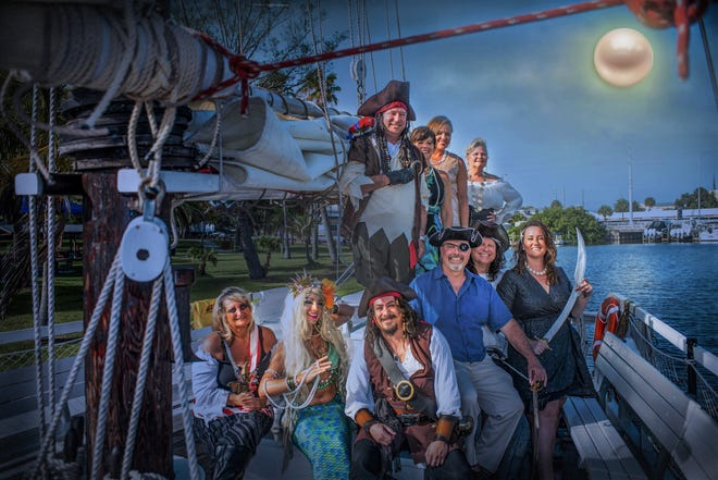 Pirates & Pearls Garden Bash Committee members, from left, Aileen Fornuto, Pearlina the Dancing Mermaid, Gerry the Pirate, Bill West, Tom Munhollen, Sarah Baker, Jack Albright, Betsy Johnson, Amber Ducote and Polly Delater.