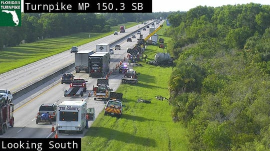 A Florida Highway Patrol official said there were no injuries in the crash involving two semis and a passenger vehicle early Thursday morning, August 15, 2019.