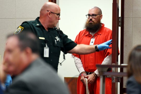 Michael Jones, accused of murdering his girlfriend, Diana Duve, in 2014, enters the courtroom for a pretrial hearing on Thursday, Aug. 15, 2019, at the Indian River County Courthouse. The court heard testimony from defense witness Ann McDonald Clark, Jones' maternal grandmother, via video link from Macon, Georgia. Jones' death penalty trial is slated to begin Oct. 1