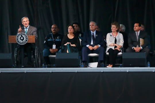 Texas Gov. Greg Abbott speaks at the Community Memorial Service on Wednesday, Aug. 14, 2019, at Southwest University Park. The memorial service was held for the 22 people who were killed in the shooting at Walmart on Saturday, Aug. 3, 2019.