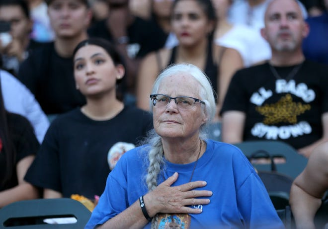 El Pasoans came together to mourn at the El Paso Community Memorial Wednesday, August, 14, 2019 at Southwest University Park in El Paso, Texas.