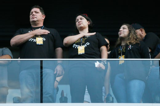 People attend the Community Memorial Service Wednesday, Aug. 14, at Southwest University Park. The memorial service was held for the 22 people that were killed in the shooting at Walmart Saturday, Aug. 3.