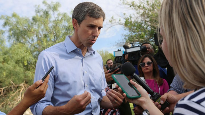 Presidential candidate Beto O'Rourke tells reporters after a speech Thursday, Aug. 15, 2019, at Tom Lea Park in El Paso that he is determined to visit hurting communities throughout the country that sometimes feel abandoned, because their stories are important too.