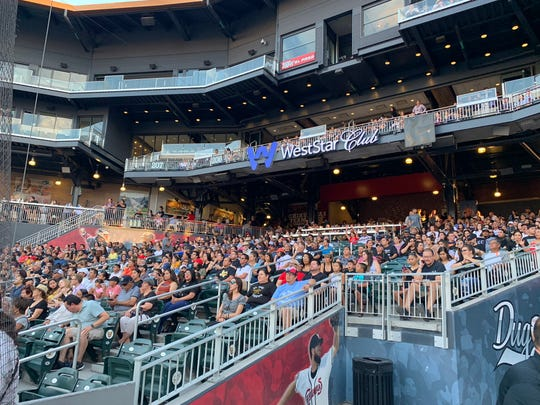 El Pasoans fill the seats at Southwest University Park for the Community Memorial Service on Wednesday, Aug. 14, 2019, for the victims of the Walmart mass shooting.