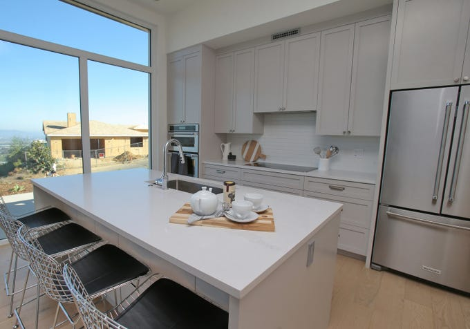 "The kitchen in a new modular home built by Dvele in the Thomas Fire burn area in Ventura. The ""Skyview Home"" is located on Skyview Terrace."
