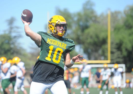Senior quarterback Blake Sturgill is one of the leaders of Moorpark High football team, which opens Camino League play against host Thousand Oaks on Friday night.