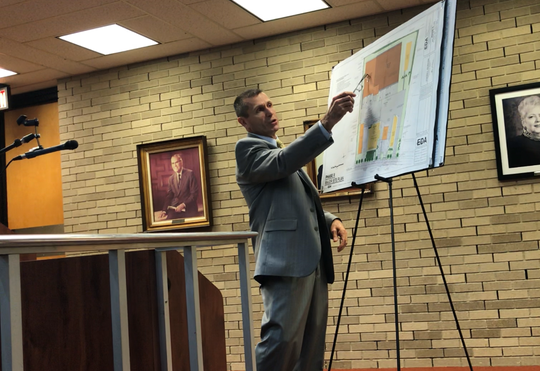 Vineland planning officials on Wednesday night approved a plan by KRES Cold Storage for a $6 million facility on North Mill Road. Attorney Michael Fralinger, representing KRES, points out to officials key features of the site plan for the two-phase project.