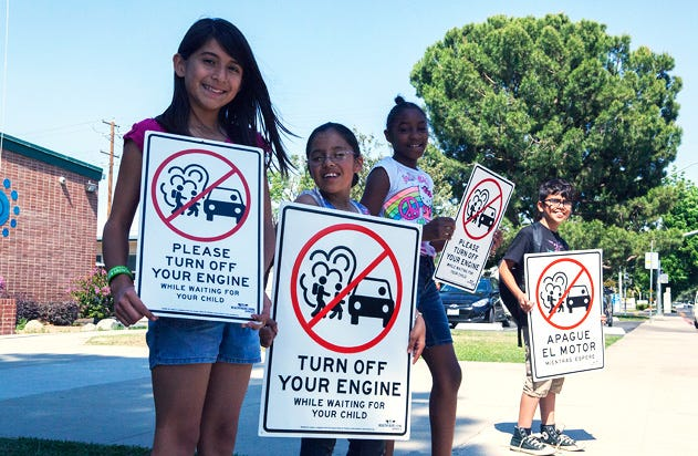 """Valley air officials remind parents """"turn the key, and be idle free"""" when picking up children this back-to-school season."""