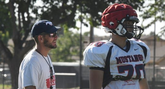 Tulare Western head coach Ryan Rocha oversees practice on Aug. 12, 2019 in Tulare.