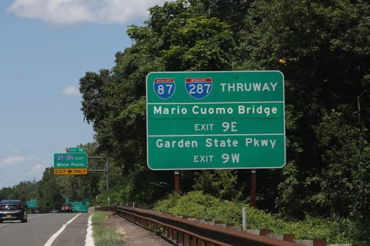 A sign for the Mario Cuomo Bridge before the Palisades Parkway exit onto the NY State Thruway in West Nyack Aug. 1, 2019.