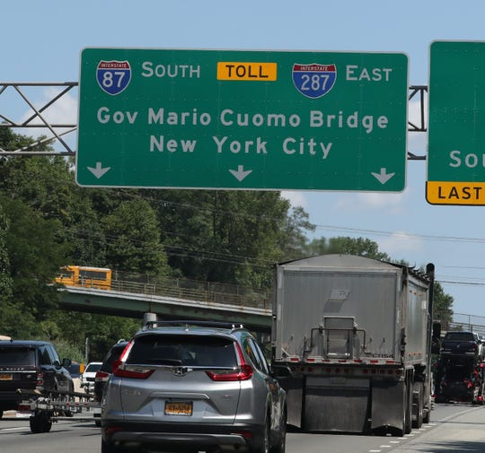 A sign for the Gov Mario Cuomo Bridge on the NY State Thruway in Nyack Aug. 1, 2019.