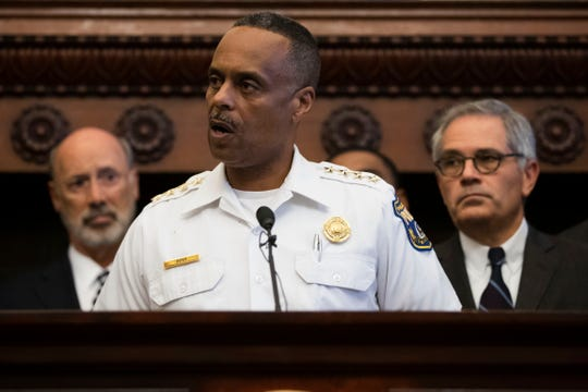 Philadelphia Police Commissioner Richard Ross speaks during a news conference at City Hall in Philadelphia, Thursday.