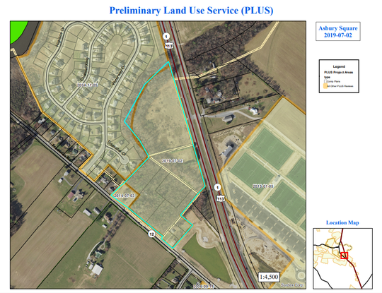 A map shows the outline of a proposed commercial development across Del. 1 from DE Turf.