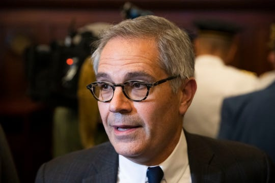 Philadelphia District Attorney Larry Krasner speaks with members of the media at City Hall in Philadelphia, Thursday.