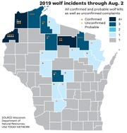 2019 Wolf attacks in Wisconsin through August 2.