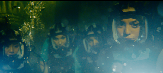 """Brianne Tju, Corinne Foxx,  Sophie Nelisse and Sistine Stallone fight blind but hungry predators in """"47 Meters Down: Uncaged."""""""