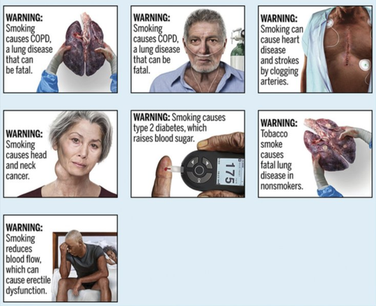This image provided by the U.S. Food and Drug Administration on Thursday, Aug. 15, 2019 shows proposed cigarette warning labels.