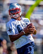 New England Patriots wide receiver Jakobi Meyers runs patterns during the 2019 season opening Training Camp at Gillette Stadium.