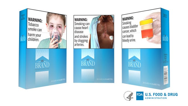 This undated image provided by the U.S. Food and Drug Administration shows proposed graphic warnings that would appear on cigarettes. The Food and Drug Administration on Thursday, Aug. 15, 2019, proposed 13 new large, graphic warnings that would appear on all cigarettes, including images of cancerous tumors, diseased lungs and bloody urine.