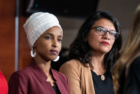 Democratic Representatives Ilhan Omar (L) and Rashida Tlaib speak about President Trump's Twitter attacks against them in the US Capitol in Washington, DC, USA, 15 July 2019 EPA-EFE/Jim Lo Scalzo