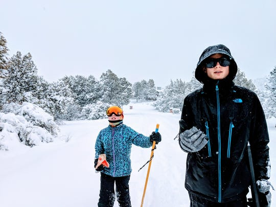Erysse and Aren Elliott in a snowstorm in Prescott, Arizona, in early 2019.