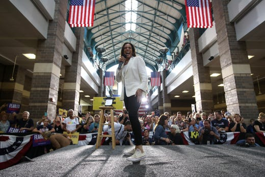 "Democratic presidential candidate Sen. Kamala Harris, D-CA, speaks during a ""For the People"" rally on August 12, 2019 in Davenport, Iowa."