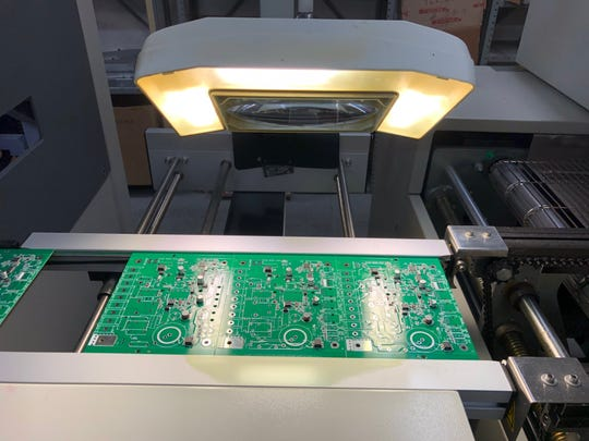 A circuit board produced at Micro-Air Inc. in Allentown.