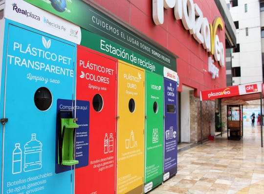Recycling kiosk a shopping center in central Lima, Peru, where plastic containers are accepted.
